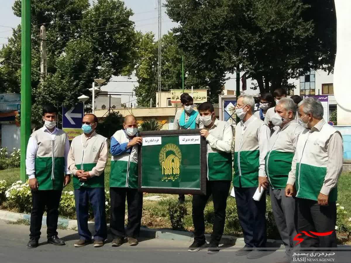 استقبال مردم نظرآباد از خادمان و پرچم حرم امام رضا(ع)
